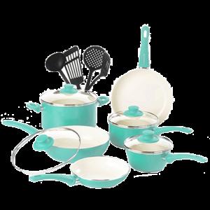 Soft Grip Ceramic Made NonStick GreenLife Cookware Set