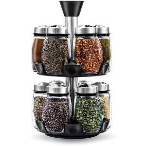 12 Jar revolving spice rack organizer